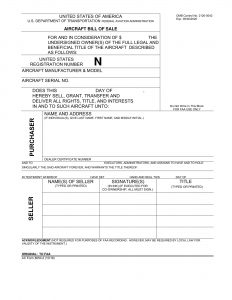 Fillable Aircraft Bill of Sale Form