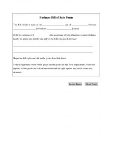 Fillable Business Bill of Sale Form