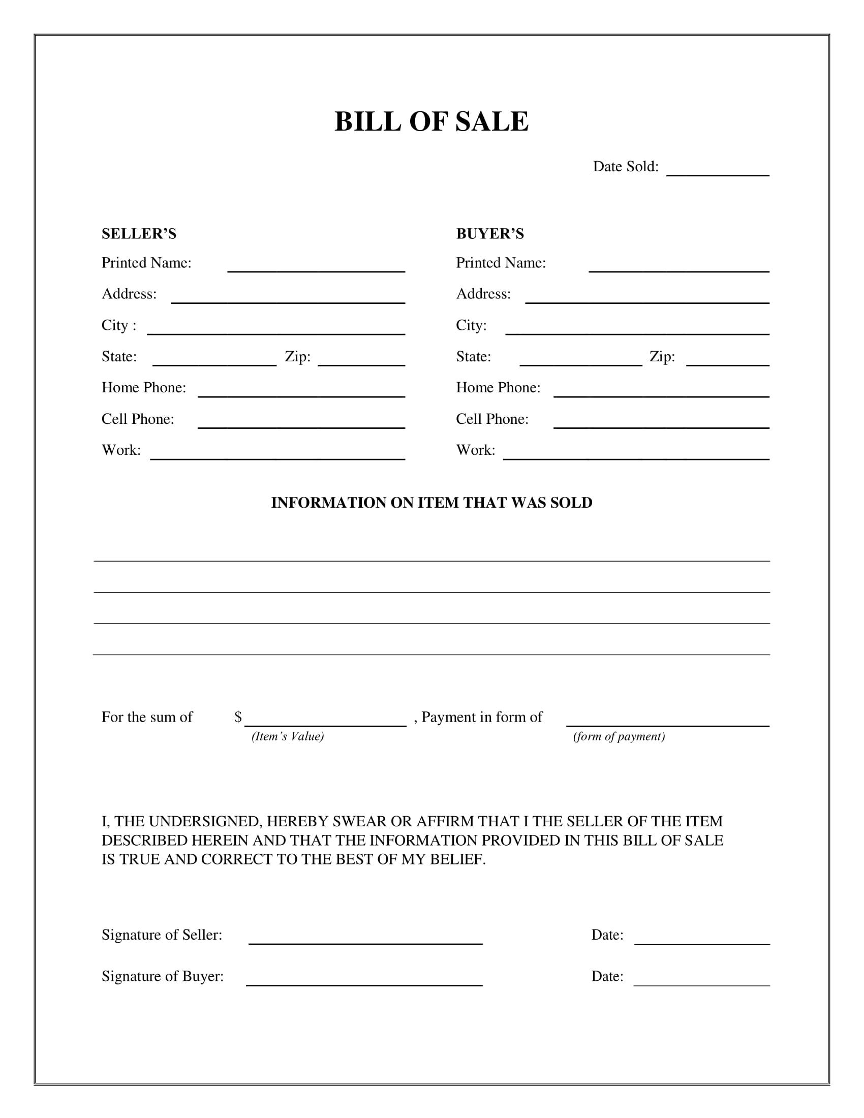 Free Fillable Bill Of Sale Form Pdf Templates Bill of sale template utah
