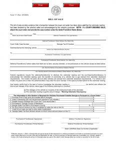 Fillable Georgia Bill of Sale Form