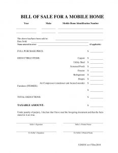 Fillable Mobile Home Bill of Sale Form