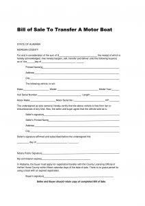 Fillable Alabama Boat Bill of Sale Form