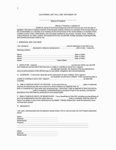 Fillable California Last Will and Testament Form