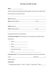 Fillable Florida Firearm Bill of Sale Form