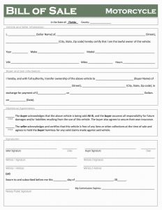 Fillable Florida Motorcycle Bill of Sale Form