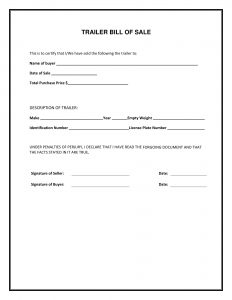 Fillable Florida Trailer Bill of Sale Form