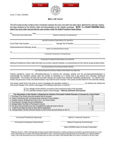 Fillable Georgia Vehicle Bill Of Sale Form