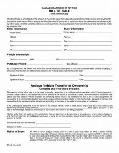 Fillable Kansas Vehicle Bill Of Sale Form