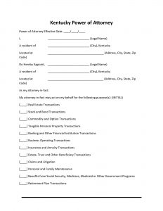 Fillable Kentucky Power of Attorney Form