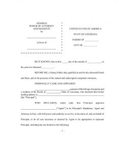 Fillable Louisiana Power of Attorney Form