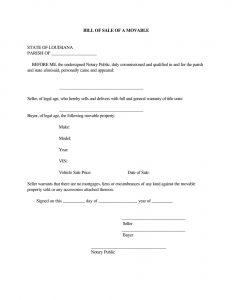 Fillable Louisiana Vehicle Bill Of Sale Form