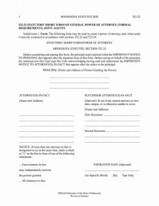 Fillable Minnesota Power of Attorney Form