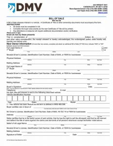 Fillable Nevada Vehicle Bill Of Sale Form