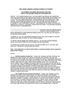 Fillable New Jersey Power of Attorney Form
