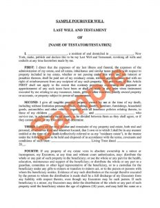 Fillable New York Last Will and Testament Form