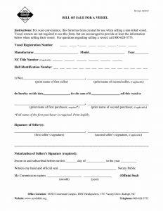Fillable North Carolina Boat Bill of Sale Form