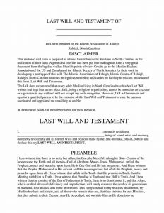 Fillable North Carolina Last Will and Testament Form