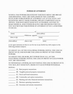 Fillable Oklahoma Power of Attorney Form