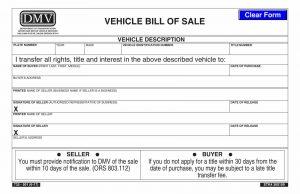 Fillable Oregon Vehicle Bill Of Sale Form