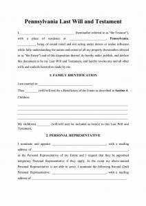 Fillable Pennsylvania Last Will and Testament Form