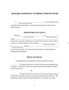 Fillable Power of Attorney Form
