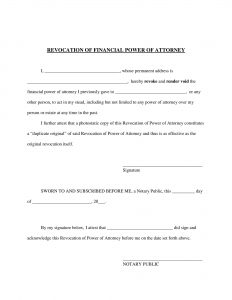 Fillable Revocation Power of Attorney Form