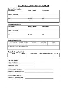 Fillable Tennessee Vehicle Bill Of Sale Form