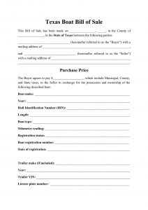 Fillable Texas Boat Bill of Sale Form