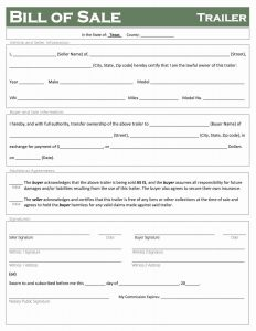 Fillable Texas Trailer Bill of Sale Form