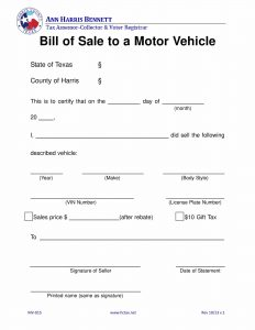 Fillable Texas Vehicle Bill Of Sale Form