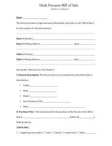 Fillable Utah Firearm Bill of Sale Form