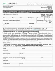 Fillable Vermont Vehicle Bill Of Sale Form