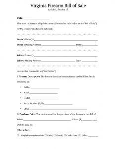 Fillable Virginia Firearm Bill of Sale Form