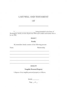 Fillable Washington Last Will and Testament Form